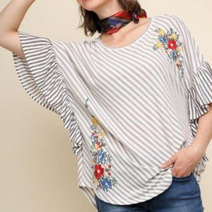 Umgee Stripe Embroidered Floral Ruffle Top/Coverup